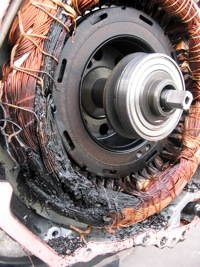 Hv Transaxle Embly Malfunction Motor Temperature Sensor Performance Problem Pic Of Fried Mg2 Windings Perhaps Due To Lubricant